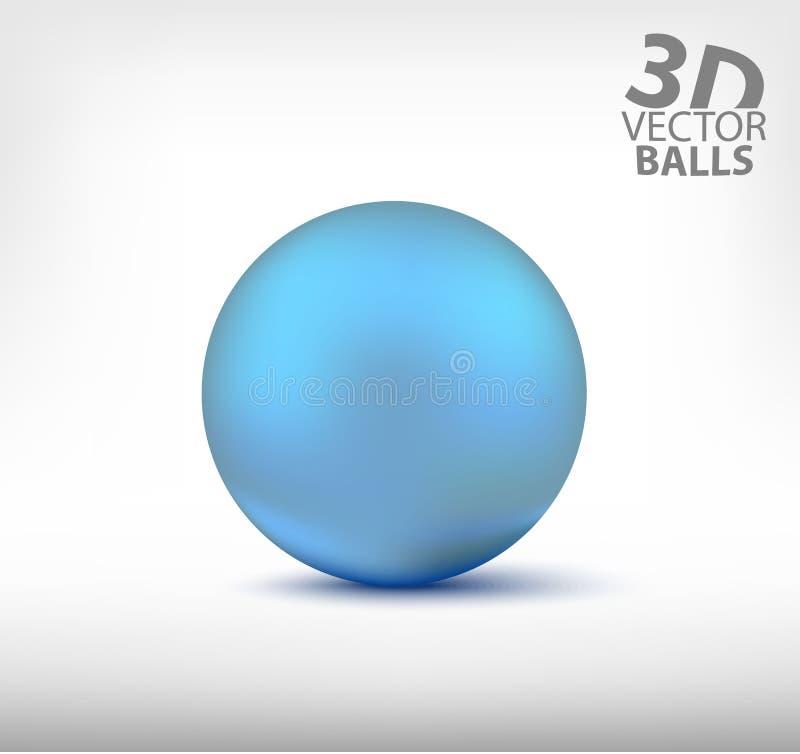 Esfera realista azul sola bolas del vector 3D foto de archivo libre de regalías