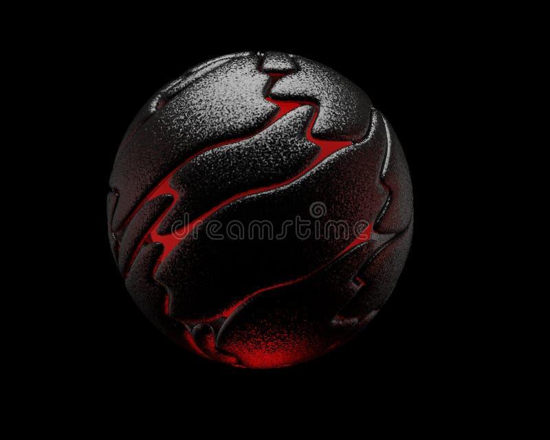 Esfera reflexiva negra, interior rojo, 3D fotografía de archivo