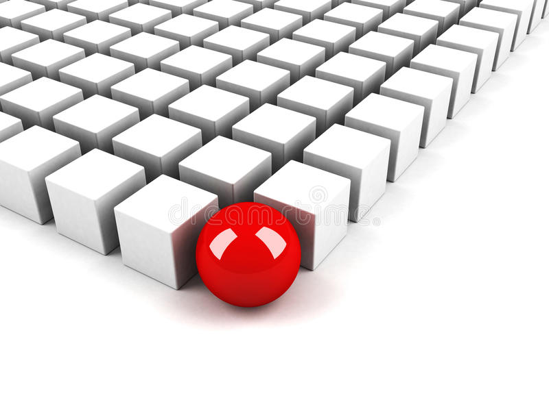 Esfera roja de la diferencia como concepto de la individualidad stock de ilustración