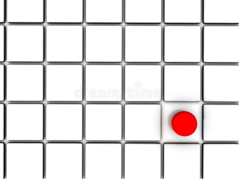 Esfera roja entre las casillas blancas ilustración del vector