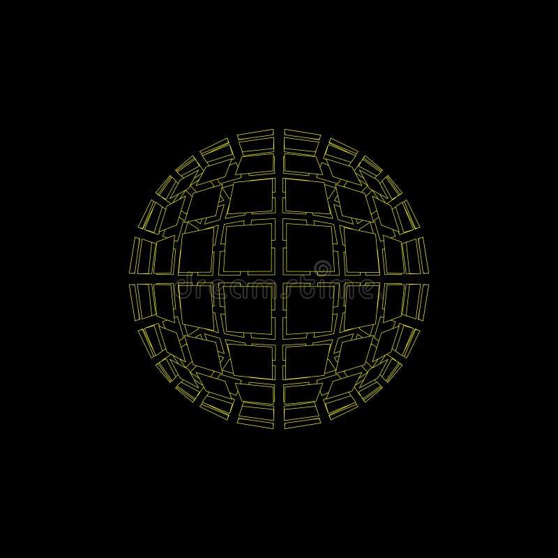 Esfera rota poligonal abstracta Aislado en fondo negro VE stock de ilustración