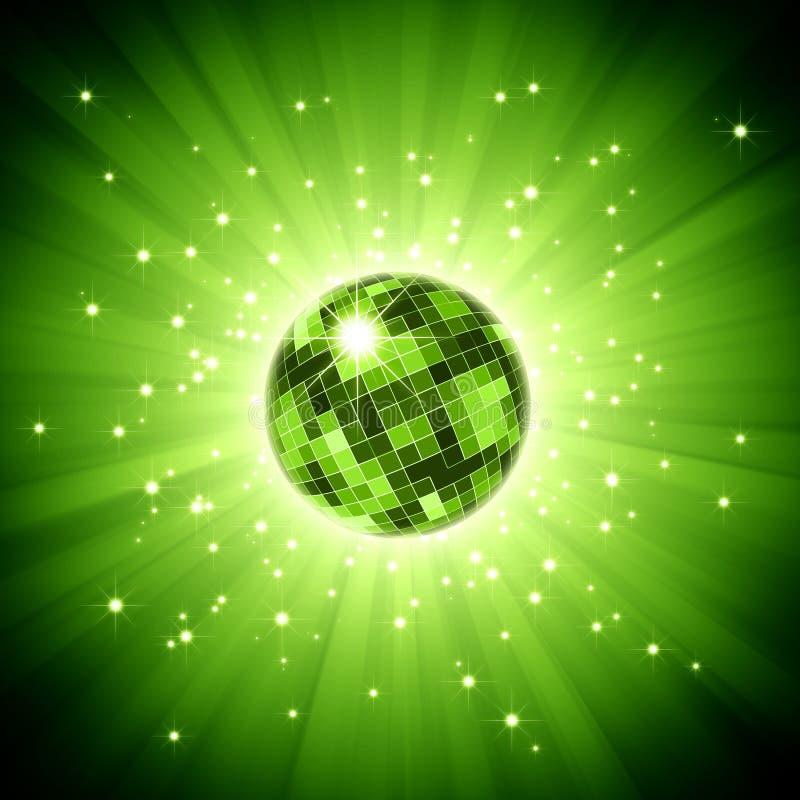 Esfera Sparkling do disco no estouro da luz verde ilustração do vetor