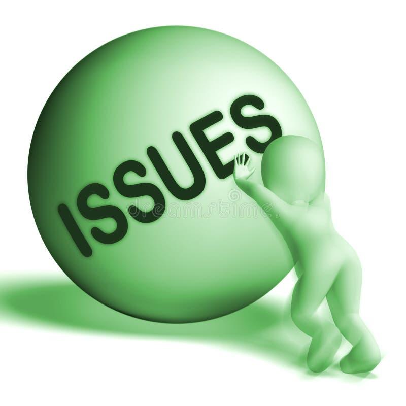 A esfera subida das edições mostra a dificuldade ou os problemas dos problemas ilustração royalty free
