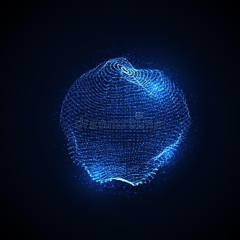 esfera torcida iluminada 3D stock de ilustración