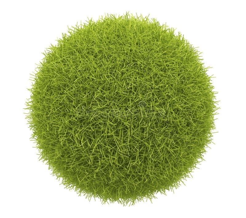 Esfera verde abstrata da grama 3D. Isolado ilustração do vetor