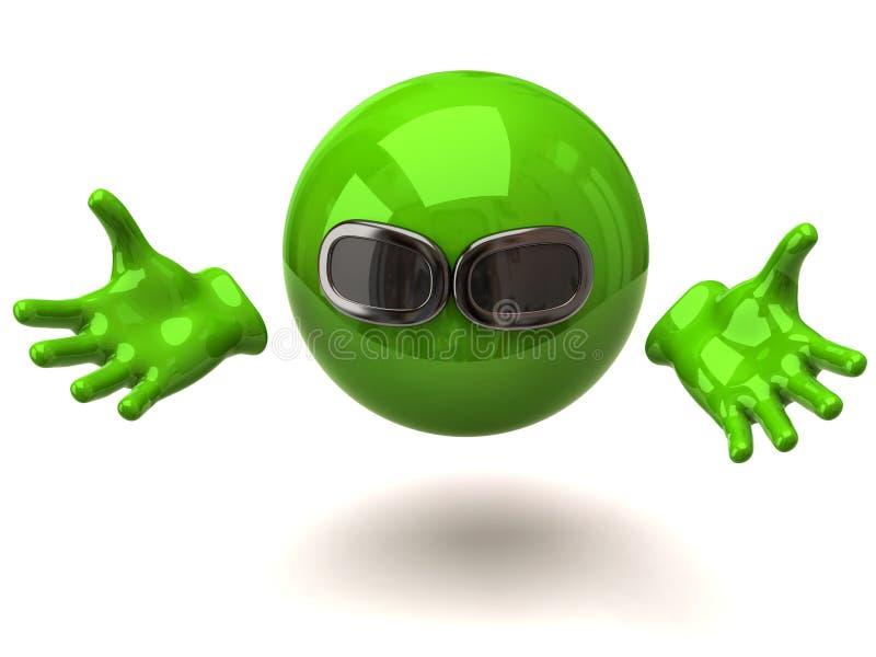 Esfera verde com óculos de sol ilustração royalty free