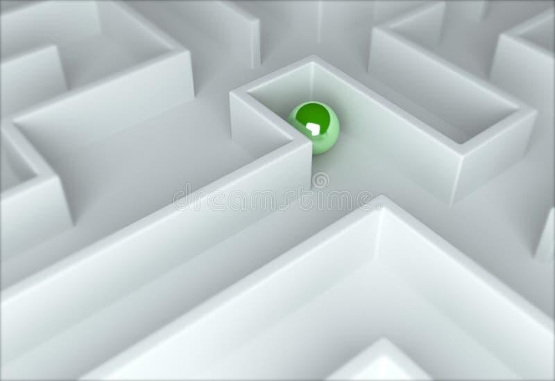 Esfera verde em um labirinto ilustração stock