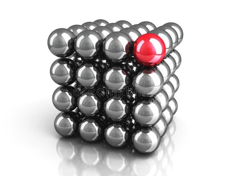 Esfera vermelha diferente como o conceito da liderança ilustração do vetor