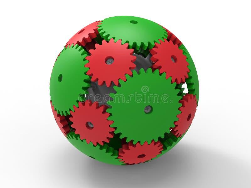 Esfera vermelha e verde das engrenagens ilustração do vetor