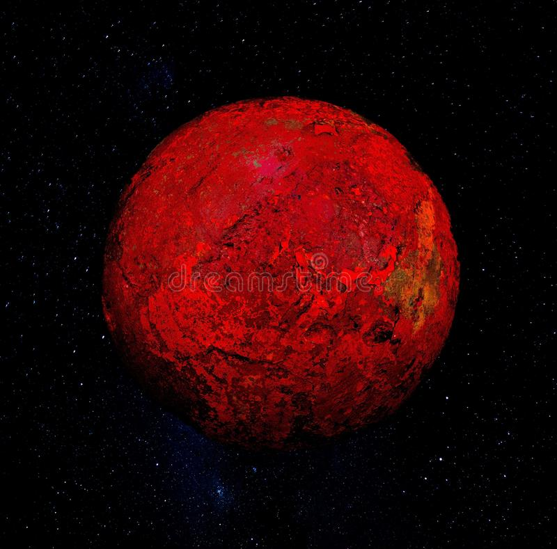 Esfera vermelha no universo imagens de stock