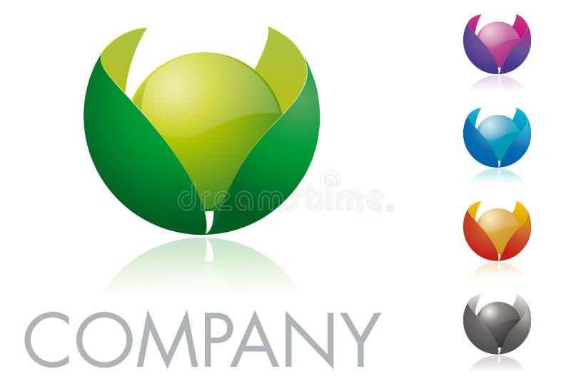 Esfera y hojas Logo Template ilustración del vector