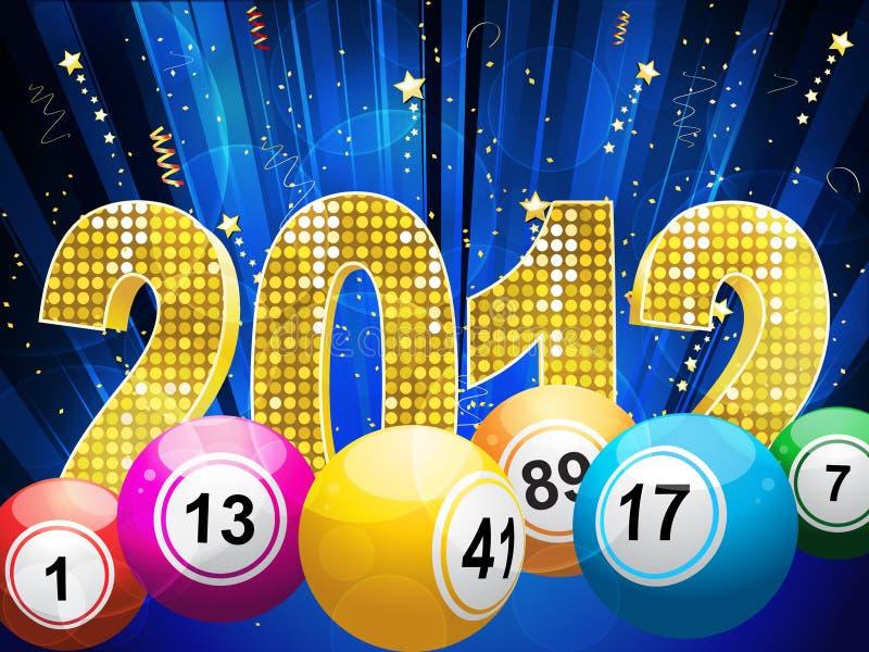 esferas 2012 e flâmulas da lotaria do bingo ilustração do vetor