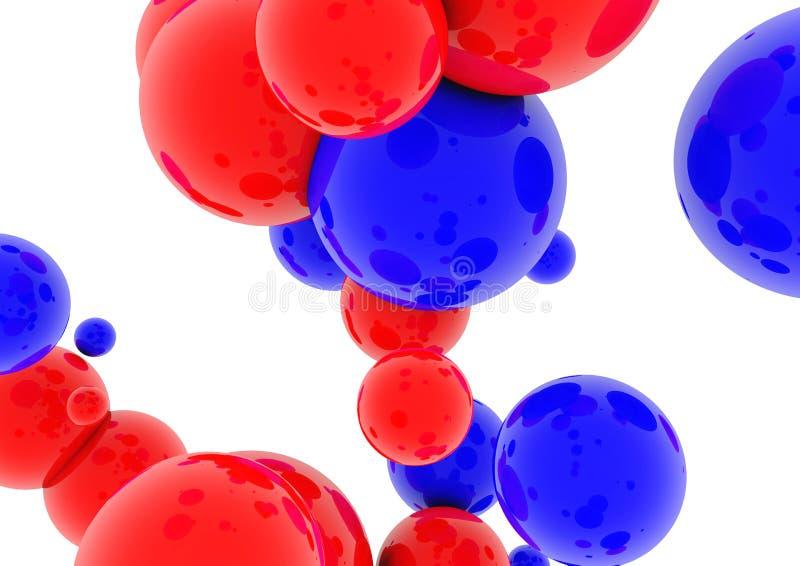 esferas 3d azuis e lustroso vermelho ilustração royalty free