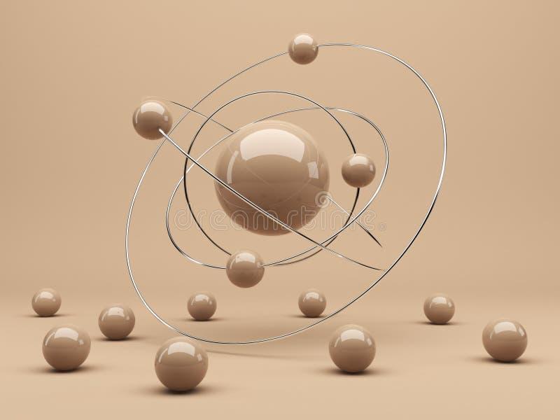 Esferas 3d. Interação. Fundo abstrato ilustração royalty free
