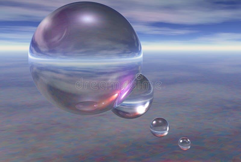esferas 3D surreais ilustração stock