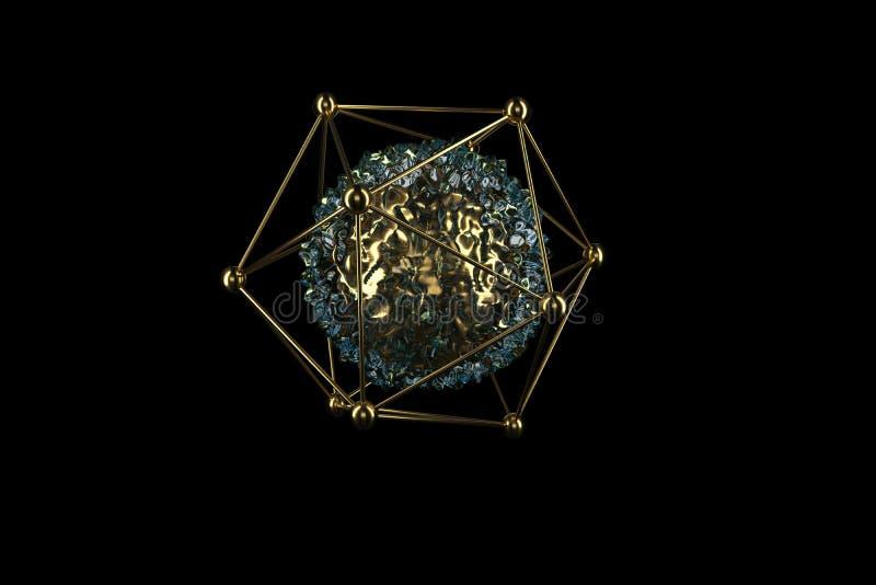 esferas abstractas 3d Joyer?a de oro de lujo del extracto aislada en negro Elemento de oro del brillo representaci?n 3D de geom?t stock de ilustración