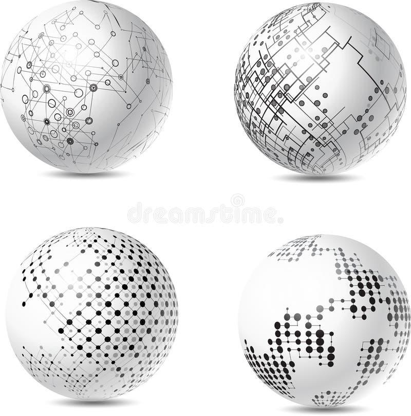 Esferas abstratas da tecnologia ilustração royalty free