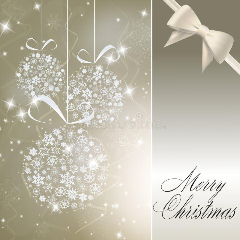 Esferas abstratas do Natal feitas dos flocos de neve brancos ilustração royalty free