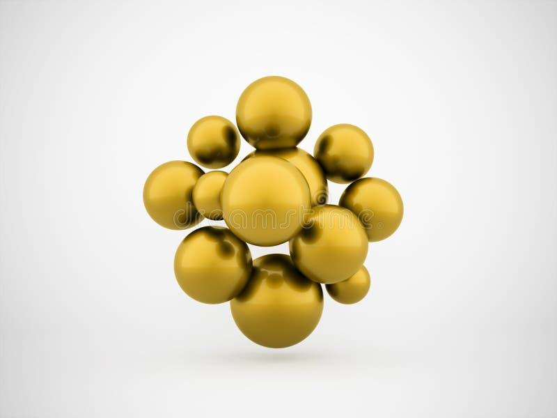 Esferas abstratas do ouro ilustração stock