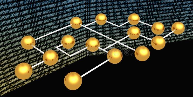 Esferas abstratas do ouro no fundo digital ilustração do vetor
