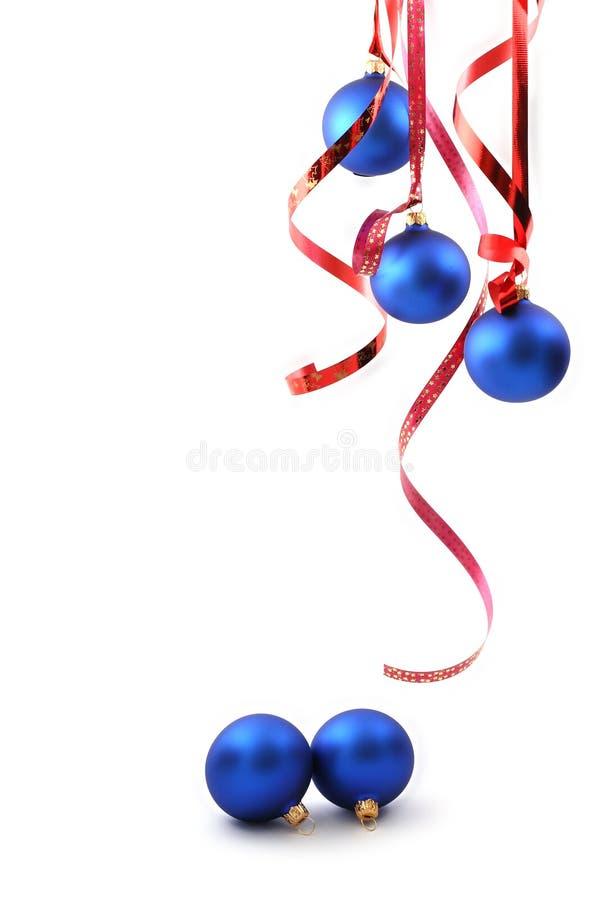 Esferas azuis - decoração do Natal fotografia de stock royalty free