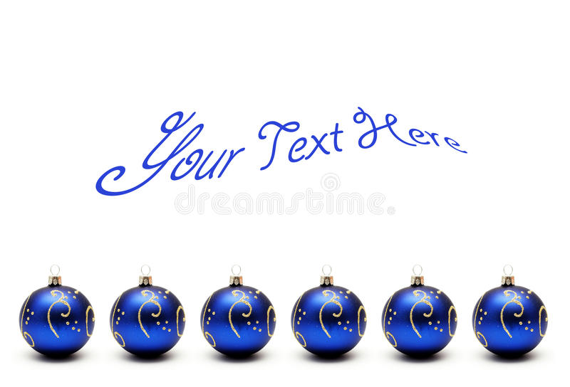 Esferas azuis do Natal com texto imagens de stock