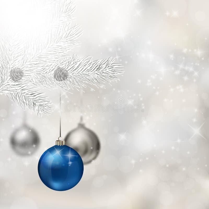 Esferas azuis e de prata do Natal ilustração stock