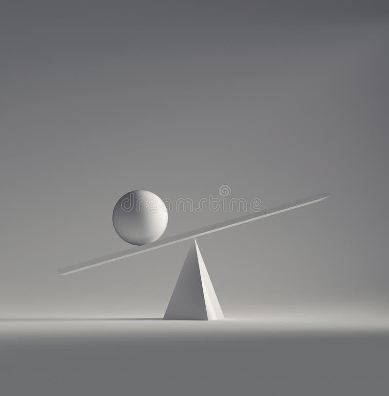 Esferas blancas en equilibrio ilustración del vector