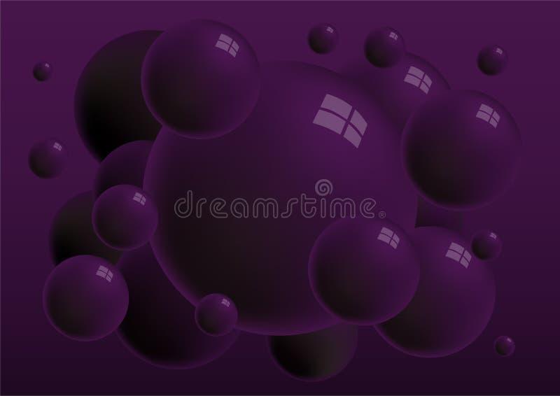 Esferas brillantes oscuras de la violeta 3d con el fondo de las reflexiones libre illustration