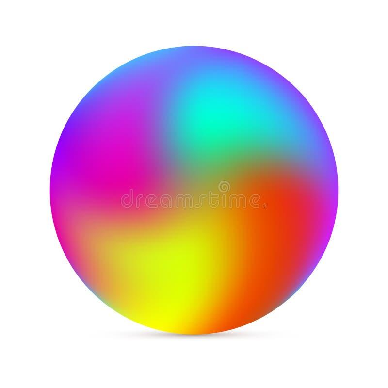 Esferas coloridas do inclinação no fundo branco Esfera abstrata ilustração do vetor