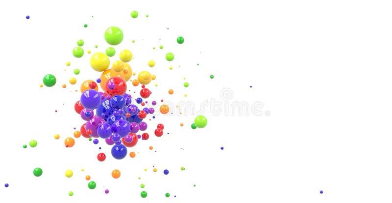 Esferas coloridas en blanco stock de ilustración