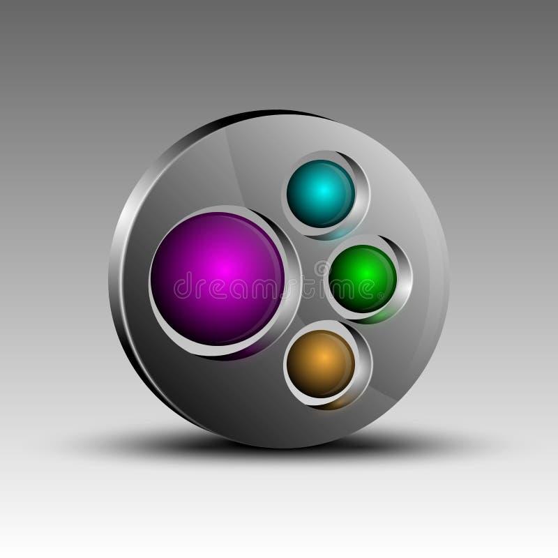 Esferas coloridas en emblema stock de ilustración