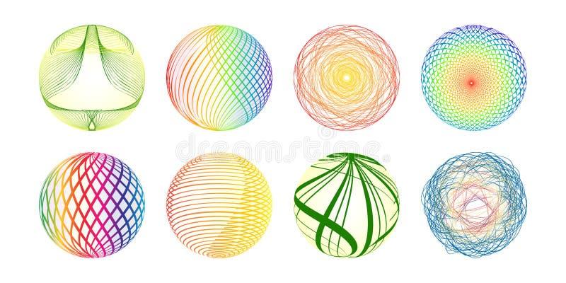 Esferas coloridas feitas das linhas ilustração royalty free