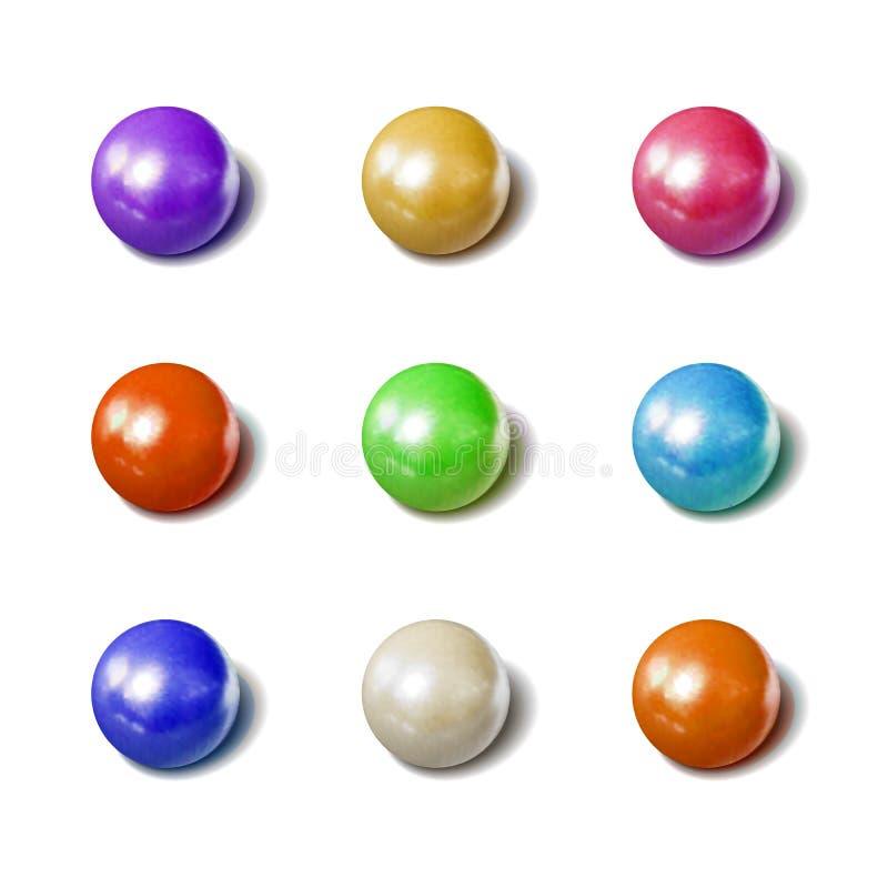 Esferas coloridas fijadas, caramelos de la gragea, colección realista del vector de los ejemplos de la foto libre illustration