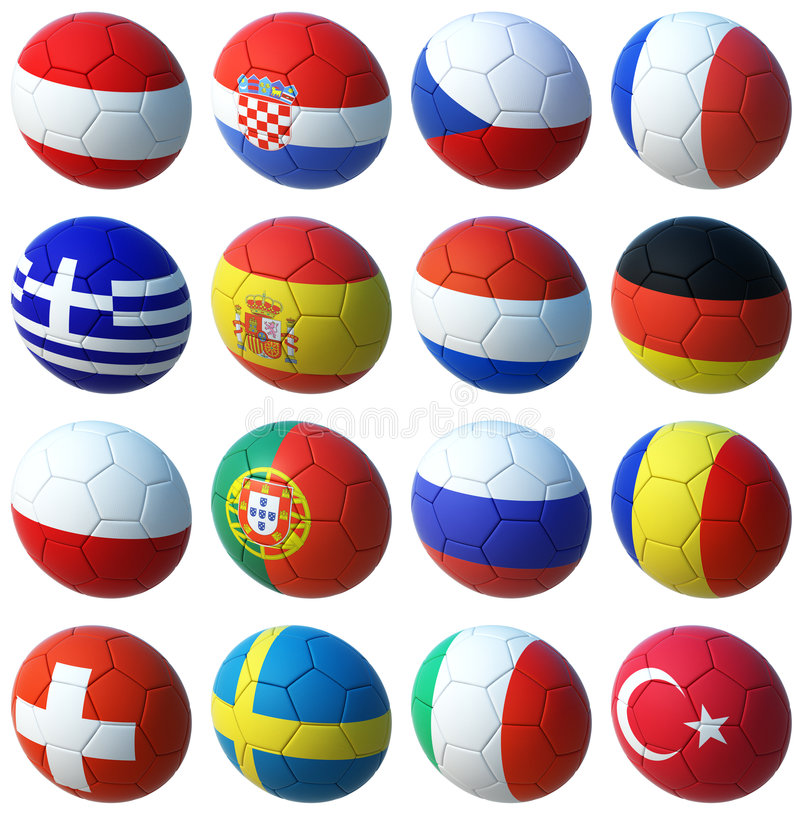 Esferas com euro 2008 bandeiras ilustração royalty free