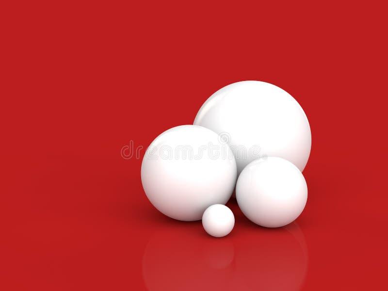 esferas 3d brancas no fundo vermelho ilustração royalty free