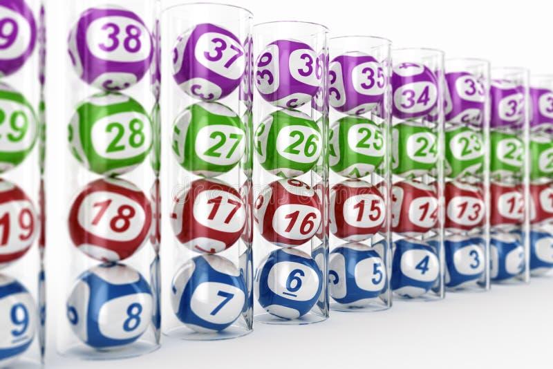 Esferas da lotaria nas câmaras de ar de vidro ilustração do vetor