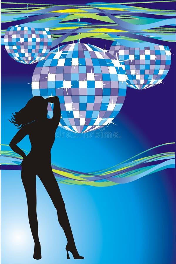 Esferas da menina e do disco ilustração royalty free