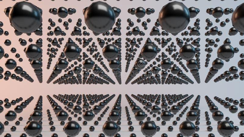 Esferas da rendição do voo 3d dentro de um estúdio ilustração do vetor