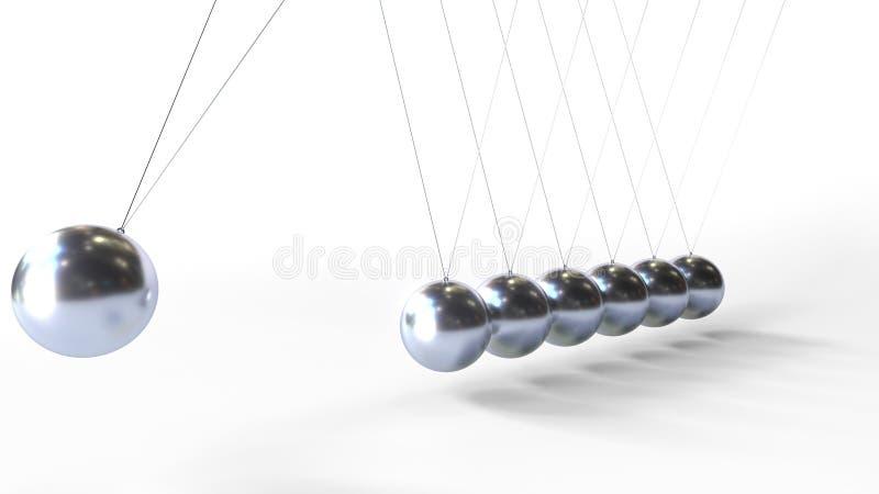 Esferas de balanceo del metal de la cuna de Newton La física relacionó la representación 3D stock de ilustración