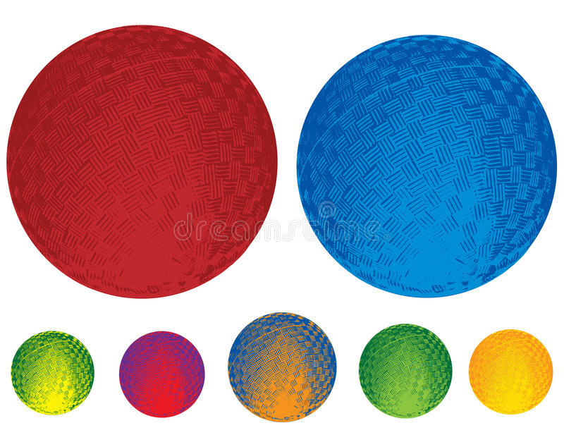 Esferas de borracha ilustradas ilustração stock