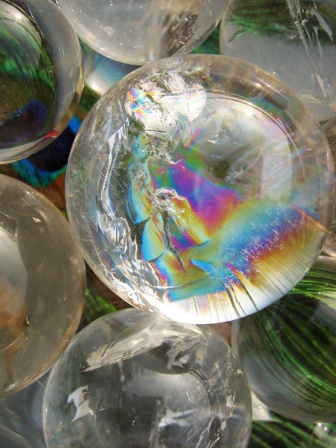 Esferas de cristal imagens de stock