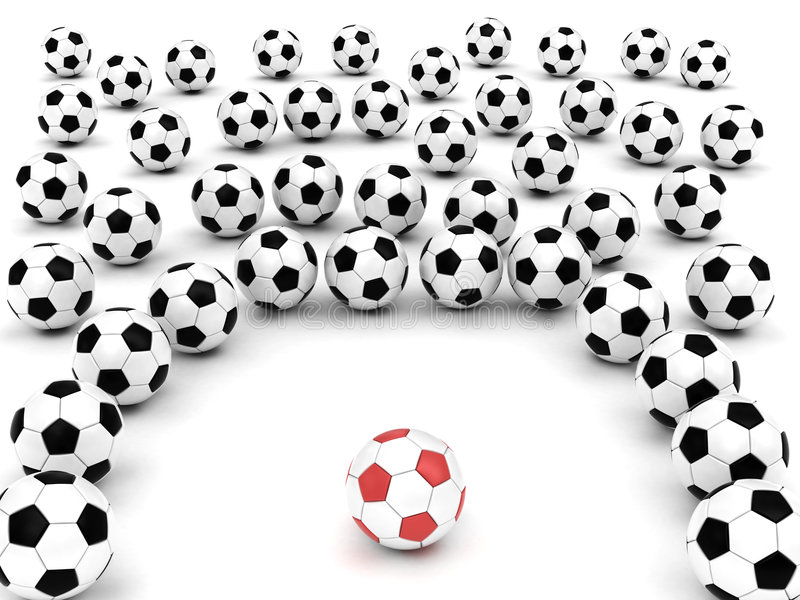 Esferas de futebol em torno do líder da equipa ilustração do vetor