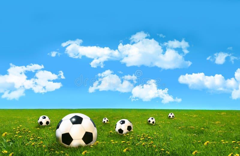 Esferas de futebol em um campo da grama foto de stock