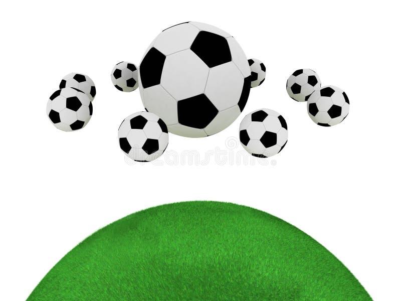 Esferas de futebol isoladas no fundo branco ilustração stock