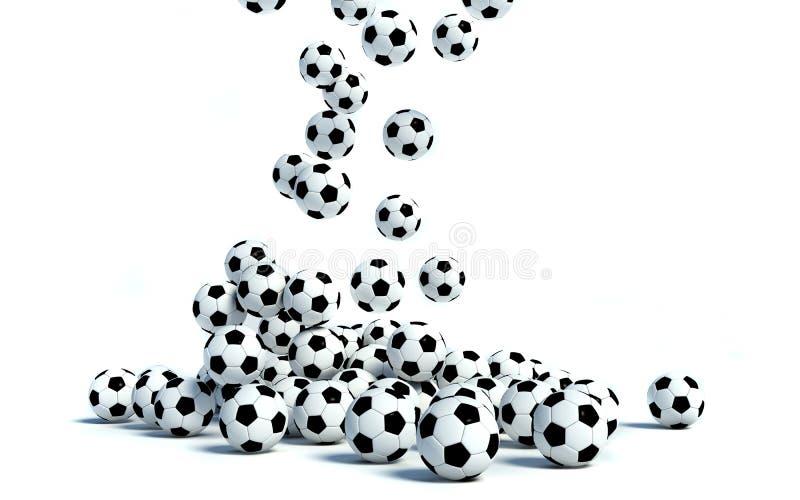 Esferas de futebol no fundo branco ilustração do vetor