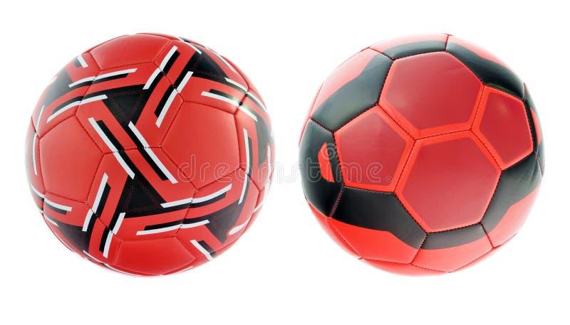 Esferas de futebol vermelhas fotografia de stock