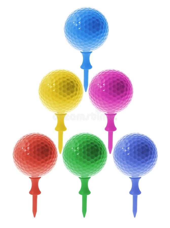 Esferas de golfe em T imagem de stock