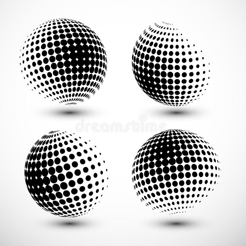 Esferas de intervalo mínimo Elemento de intervalo mínimo do projeto Globo abstrato Logo Template Ilustração do vetor ilustração do vetor