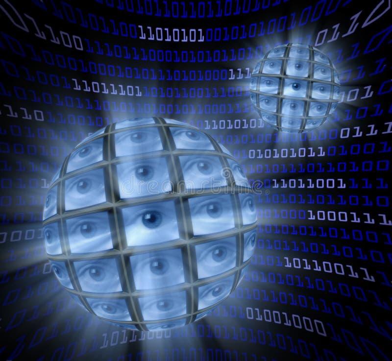 Esferas de monitores con los globos del ojo en un campo curvado   stock de ilustración